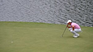 Rory McIlroy lines up his putt on the 15th green | Omega European Masters